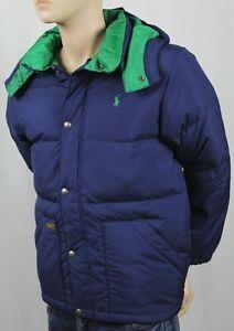 Children POLO RALPH LAUREN NAVY BLUE DOWN PUFFER COAT SKI NWT