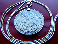 """1980-1982 Mexican Eagle & Snake 20 Peso Coin on a 28"""" White Gold Filled Chain"""