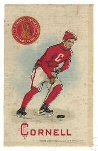 1910 Murad Cigarettes Silk Trade Card Cornell University Hockey New York Nice!