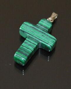 Ciondolo Croce Malachite Imität Croce 34 MM X 20 MM Pietra Verde