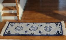 DOLLHOUSE MINIATURE  VINTAGE ARTISAN WOOL ORIENTAL NEEDLEPOINT HALL CARPET BLUE