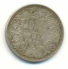 India British Empress Victoria Silver 1 Rupee 1890 B incuse VF/XF