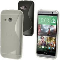 S Line TPU Gel Skin Case Cover for HTC One MINI 2 2014 ( M8 Mini ) + Screen Prot