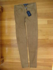 Ralph Lauren brown LAMB SUEDE PANTS 0 leggings skinny leather jeans polo $1298