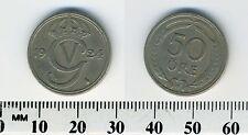Sweden 1924 W - 50 Ore Nickel-Bronze Coin - Nickel-Bronze