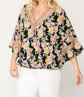 New Gigio By Umgee 2X Black Pink Floral Lace Cottagecore Peasant Plus Size