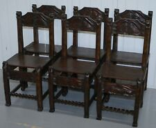 VINTAGE SET OF SIX HAND CARVED WOOD DINING CHAIRS HANDS HOLDING BALLS LIONS 6