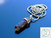 Bloodstone Crystal Point Pendant Natural Gemstone Necklace Healing Stone Chakra