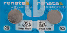 2 x Renata 357 Watch Batteries, 0% MERCURY equivalent SR44W, Swiss Made