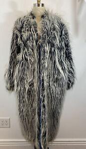 Reversible Unisex Vintage 80s Faux Fur Coat Size Large