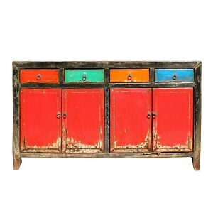 Chinese Distressed Red Multi-Color Drawers Sideboard Table Cabinet cs5917
