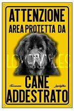 TERRANOVA AREA PROTETTA TARGA ATTENTI AL CANE CARTELLO PVC GIALLO