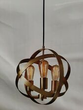 15.5×13.5 STRAP SPHERE CHANDELIER FARMHOUSE PENDANT LIGHT ANTIQUE BRASS FINISH