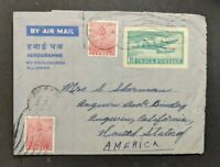 1954 Savoy Hotel Mussooree India Airmail Cover to Angwin California USA