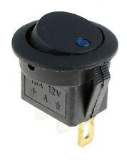 BLU LED POIS / OFF ROTONDO ROCKER interruttore illuminato auto cruscotto 12V