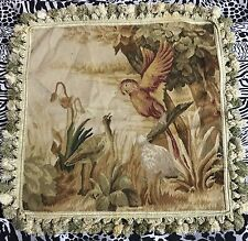 """ANTIQUE 19C AUBUSSON FRENCH HAND WOVEN TAPESTRY CUSHION 20"""" By 20"""""""