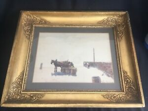 Antique Watercolor Painting Shore Beach Listed Artist John Carlaw RSW Scottish