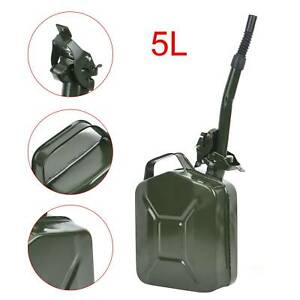 5L Metal Jerry Can For Storage Fuel Petrol Diesel Oil Container + Flexy Spout