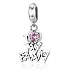 I Love Family Silver Cz European Charm Beads Fit Necklace Bracelet Making Diy