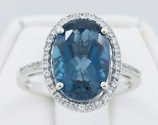 14k White Gold London Blue Topaz and Diamond Women's Ring