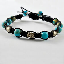 MEN'S VARISCITE NATURAL GEMSTONE BEADED SHAMBALLA BRACELET CRYSTAL HEALING