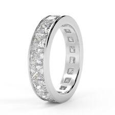 3.00 Ct Princess Diamond Channel Set Full Eternity Ring, UK Hallmarked Platinum