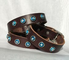"10-13"" SM Evil Eye leather dog collar handmade by Dogtown US Free shipping"
