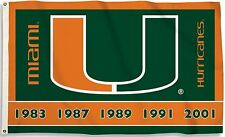 Miami Hurricanes 3' x 5' Flag (Football Championship Years) NCAA Licensed