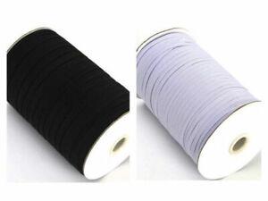 FLAT CORDED ELASTIC  Dress Making Sewing Masks 4,6,8 mm White/Black