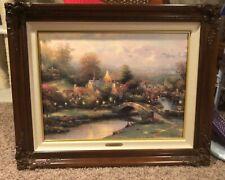 Thomas Kinkade Lamplight Village Signed 18x26 A/P Canvas 274/495 w/ Brandy Frame