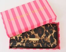 VS Victoria's Secret Zip Wallet Clutch Leopard Animal Print Side w/ Gift Box NWT
