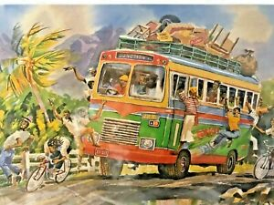 """Jamaican Christmas gifts 2 color Prints 17"""" x 22"""" -""""Country Bus"""" & Fish Vendors"""