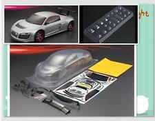 1/10 RC OnRoad  Clear Drift Car Body  AUDI R8 Decals Buckets HPI KYOSHO Tamiya