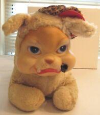 Vintage Plush Rubber Face Bulldog Stuffed Animal Hat Pipe Dog Toy