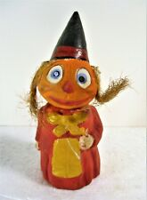 """ANTIQUE HALLOWEEN UNCOMMON PAPER MACHE/COMPO 'WITCH""""  FIGURE CANDY CONTAINER"""