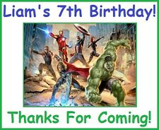 """(4)Personalized Avengers Party Stickers,3"""" Birthday Labels Supplies super hero"""