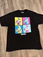 Fortnite Men's Loot Llama Neon Grid Battle Royale Licensed T-Shirt Black Size XL