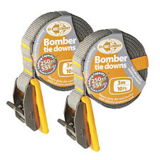 Bomber 3m Tie Down Straps Pair Surfboards , Sit on Top Kayak Or Canoes on Cars