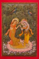 Hand Painted Krishna Radha Gold Miniature Painting Art Work Synthetic Ivory Fine