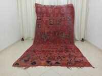 "Handmade Vintage Moroccan Rug Berber Boujaad Wool Morocco Rug 5'41""x 10'2"" Feet"
