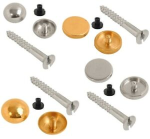 MIRROR SCREWS - CHOICE OF DISCS OR DOME CAPS - BRASS, CHROME OR SATIN FINISH
