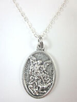 "Ladies St Michael Archangel /Guardian Angel Medal Pendant Necklace 20"" Chain"