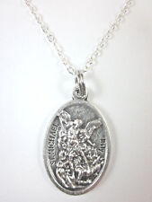 """St Michael Archangel /Guardian Angel Medal Pendant Necklace 20"""" Chain Gift Box"""