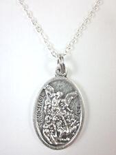 """Ladies St Michael Archangel /Guardian Angel Medal Pendant Necklace 20"""" Chain"""