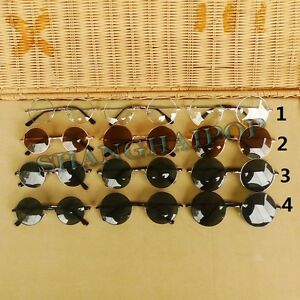 Hippy Dark Lens Sunglasses 50's Round Frame Shades John Lennon Clear Glasses New