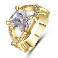 Size 6 Princess Cut white Sapphire CZ Cross Ring 10KT Yellow Gold Filled Wedding