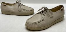 SAS Shoes Womens Beige Leather Lace Up Moc Shoes Size 10WW