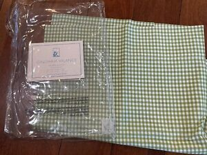 Pottery Barn Kids Pole Pocket Valance Curtain 50 inches long Light Green Gingham