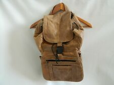 Vintage Distressed Leather Backpack Light Brown Tan