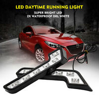 2PCS Universal 6 LED White Daytime Running DRL Day Light Car Front Headlight